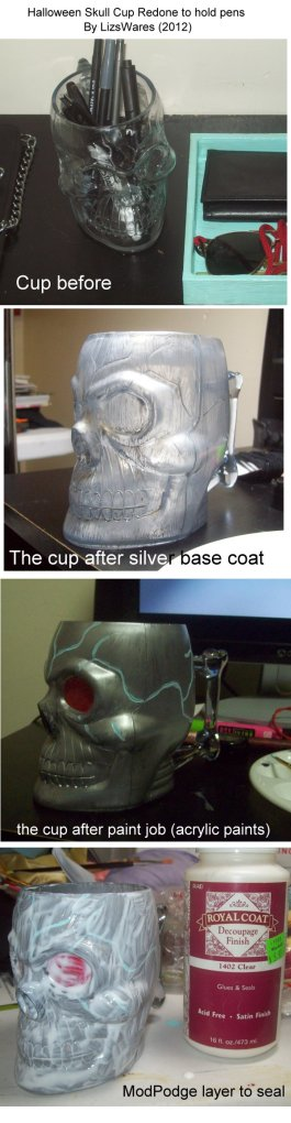 Skull pen cup- step by step